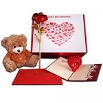 """Biglietto di auguri romantico con scritta """"I love you"""" [in lingua inglese], con rosa rossa placcata oro 24k, delizioso orsacchiotto e pop up a cuor..."""
