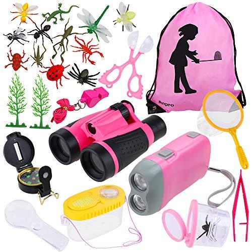 Anpro 13 in 1 Giocattoli per Avventurose Esplorazioni della Natura per Bambino, Avventure all'Aperto per Bambino, Binocolo, Fischio, Lente d'Ingran...