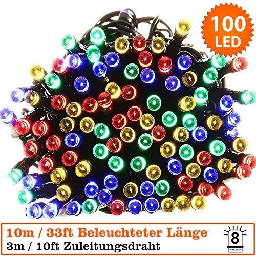 100 LED multicolore- Potenza azionata grande per la decorazione di Natale LED String Fairy Lights-cavo verde-interno ed esterno