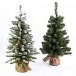 artplants.de Mini Albero di Natale WARSCHAU, Verde, Sacco di Iuta, 60cm, Ø 40cm - Albero Tessile/Abete di Natale
