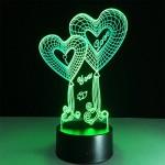 ATD® Illusione ottica 3D Double Heart Balloon TI AMO Voi tasto di tocco Colore 7 che cambia la luce di notte del LED Desk Lamp,regalo romantico per...