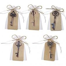 Awtlife - chiave apribottiglie con bustina trasparente, stile vintage, 50 pezzi, per ricevimento di matrimonio, 5 stili