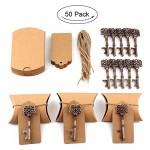 Aytai 50pezzi bomboniera antico chiave apri di bottiglia + tag + cuscino caramelle scatole, regali per Baby Shower per ospiti feste banchetti bar ...