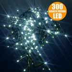 Catena Luci a LED Luminosa Natalizia 28,5 Metri 300 LED Bianco Freddo con giochi di luce, cavo verde, luci di Natale, luci Bianco Freddo, luci per ...