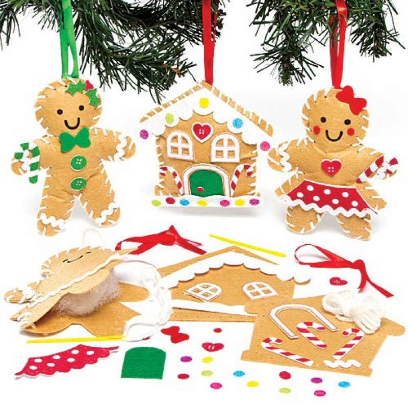 Decorazioni Natale Bambini 3 Anni.Kit Da Cucito Per Decorazioni Omino Di Pan Di Zenzero Per Bambini Da
