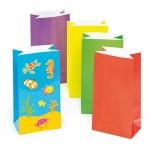 Sacchetti Colorati di Cartoncino per le Feste per Bambini da Decorare e Riempire con Sorpresine (confezione da 10)