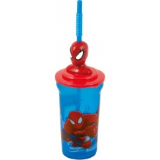Bbs 122322 - Ultimate Spider-Man Bicchiere 3D con Cannuccia, 42 cl
