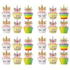 Bdecoll 24Pcs toppers torta unicorno cupcake topper, torta di compleanno dessert cupcake party decors