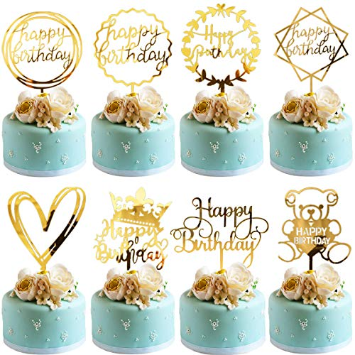 BESTZY Happy Birthday Cake Topper Cupcake Topper 8 Pezzi Compleanno Cake Topper Acrilico Cupcake Topper per Compleanno Festa Decorazione