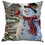 BIGBOBA Caso di Cuscino di Natale Decorativo,da 4 Pezzi Set, Federa Cuscini con Motivo di Babbo Natale 45x45 cm Divano Letto Home Bed Decor