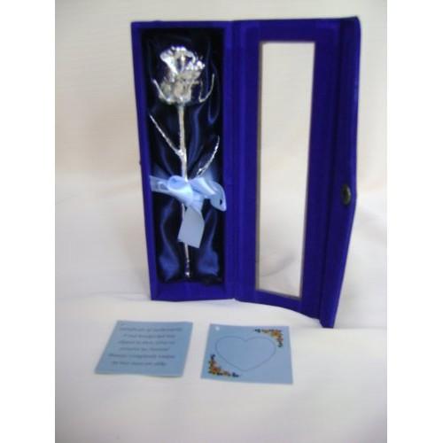 Anniversario matrimonio idea regalo 15,24 cm argento puro acciaio rosa naturale In blu con motivo di raso e fiocco presentata In realizzato a mano ...