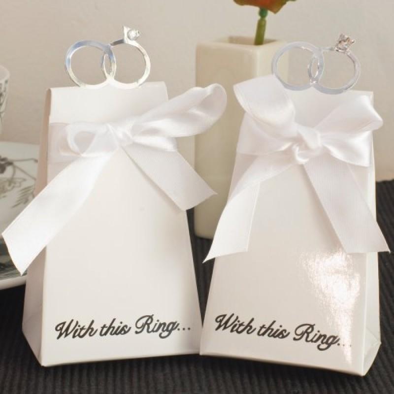 Scatole Bomboniere Matrimonio.20pz Bomboniere Scatole Portaconfetti Confettata Matrimonio Con Anello Diamante Bianco