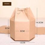 50pz Scatola Esagonale Portaconfetti Cartoncino Kraft Tema Rustico Due Misure (Corda In Canapa Incluso) (GRANDE)