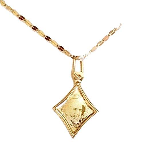 Catenina Fogliolina in Oro e Medaglia Padre Pio in Oro 18 kt (750/000) Gr. 1,70