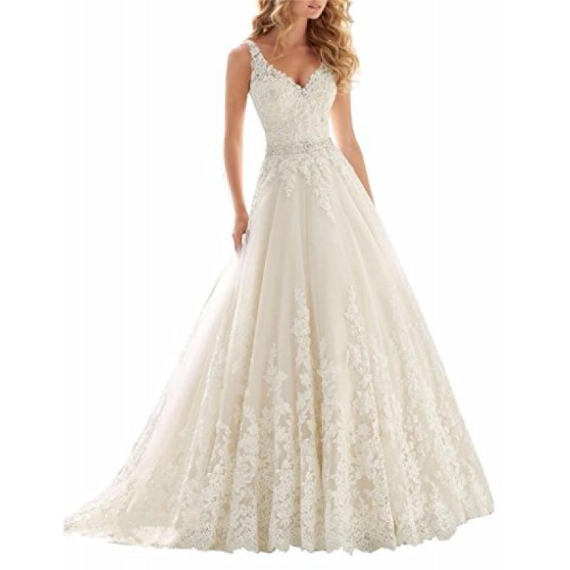 new style 858e6 da27e Changjie Donna Abiti da sposa con scollo a V Applique del merletto nuziale  per le donne 2016