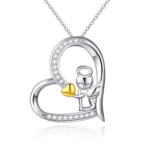 Collana da donna in argento Sterling 925 con ciondolo a forma di ali d'angelo custode, gioiello commemorativo, regalo per battesimo per ragazze