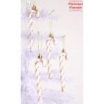 Christmas Concepts® Confezione da 6-13 cm Decorazioni per L'Albero di Natale con Bastoncini di Zucchero Glitter (Oro Rosa e Bianco)