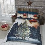 Set comprensivo di copripiumino per letto matrimoniale e 2 federe, fantasia con albero di Natale, slitta e Babbo Natale, multicolore