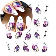 Adesivi per unghie clifcragrocl, 8 fogli fiore petalo nail art acqua trasferimento decalcomanie adesivi decorazione unghie fai da te - STZ508