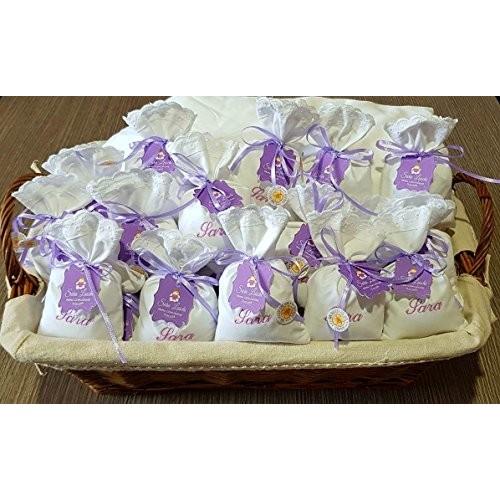 Crociedelizie, Stock 25 sacchetti ricamo nome bomboniere portaconfetti bimbo bimba prima comunione