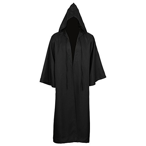 CUSFULL Mantello con Cappuccio Costume di Halloween Felpa con cappuccio Cappotto (XXL, Nera per adulti)