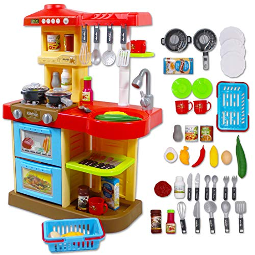 deAO Cucina di Giocattolo con Luci e Suoni Include 30 Accessori (ROSSO)