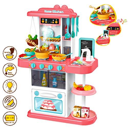 deAO Mio Piccolo Chef Cucina Giocattolo con Rubinetto dell'Acqua Caratteristiche della Luci, Suoni Set da Cucina per Bambini con Accessori Inclusi