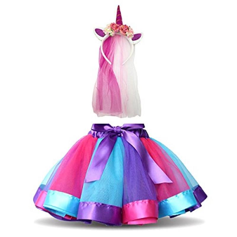 DIXIUZA Rainbow Tutu Gonna Abito Bambine Costume da Balletto con Unicorn per Dance Carnevale