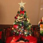 Albero di Natale da Tavolo di 60 cm, Mini Albero di Natale Artificiale di Pino con luci a Stringa LED e Ornamenti (Albero di Natale)