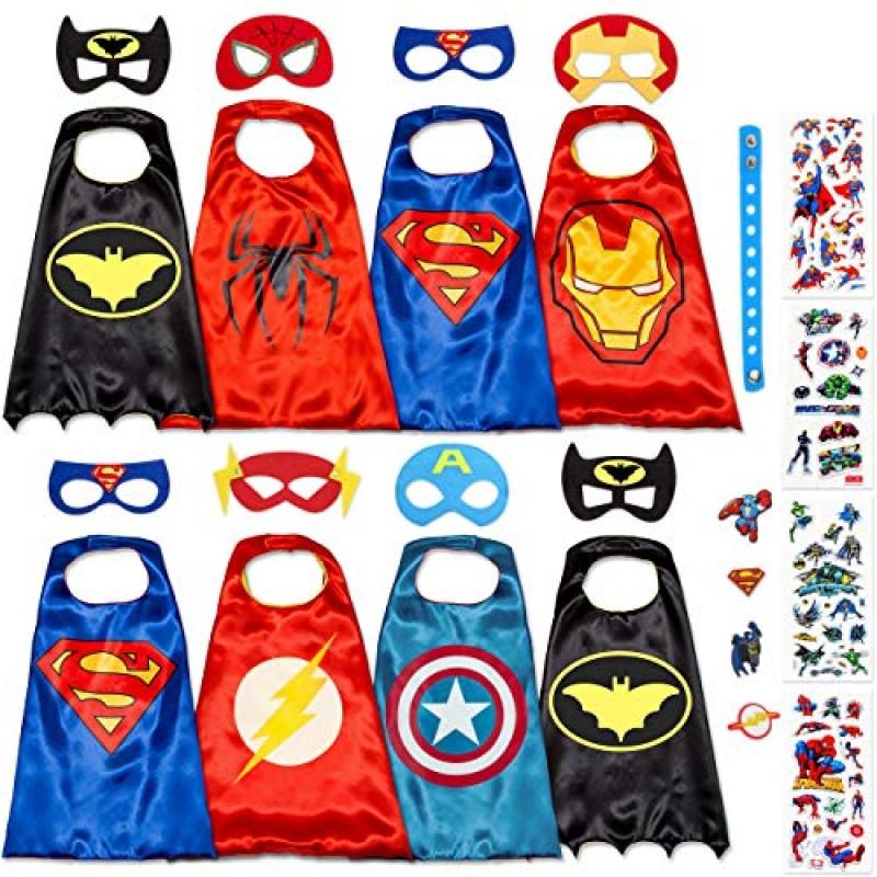 Costumi da Supereroi per Bambini - Regali di Compleanno per Bambina E  Bambino - Costume di Carnevale - 8 Mantelli E Maschere ... 1a23ee8a457