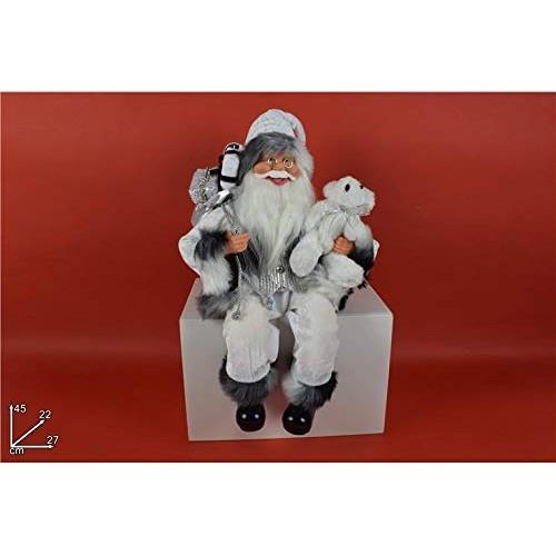DUE ESSE CHRISTMAS S.r.l. Babbo Natale Seduto 45 cm Bianco