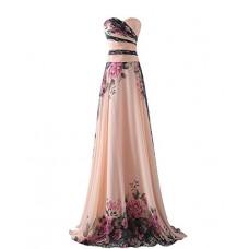 abito da cerimonia donna in chiffon damigella vestito lungo elegante floreale da festa party-Pink peach -2XL(busto 100cm)