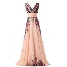 abito da cerimonia donna in chiffon damigella vestito lungo elegante floreale da festa party-Pink peach -L(busto 92cm)