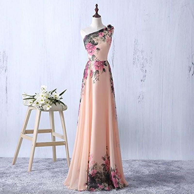 98947b175 emmarcon abito da cerimonia donna damigella vestito lungo elegante floreale da  festa party-Pink-M(busto ...