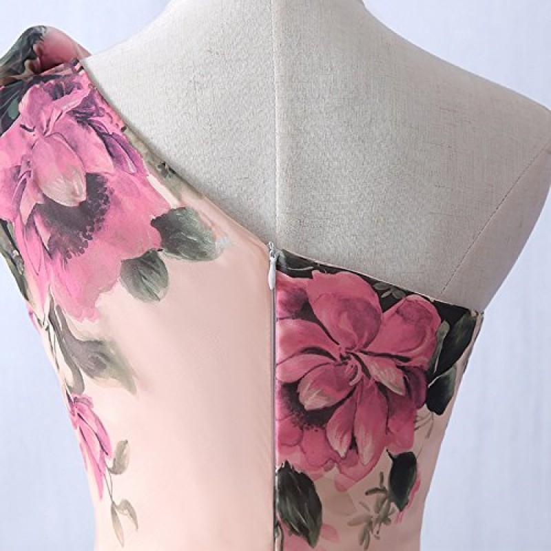 e1b4a7636ee1 emmarcon abito da cerimonia donna damigella vestito lungo elegante floreale  da festa party-Pink-M(busto ...