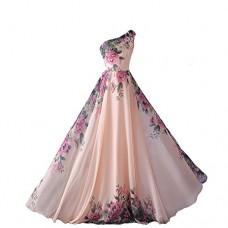 emmarcon abito da cerimonia donna damigella vestito lungo elegante floreale da festa party-Pink-M(busto 88cm)
