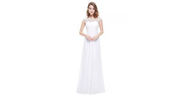 new product cab68 a76f9 Ever-Pretty Vestito da Sera Donna Lungo in Chiffon Maniche Corte Impero in  Pizzo Bianco 38