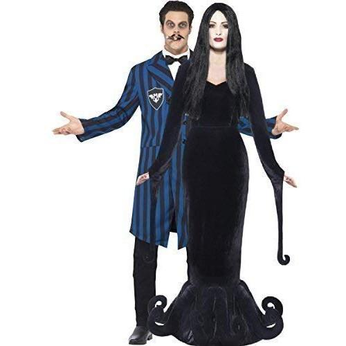 Coppia di costumi da Halloween, per uomo e donna, da Morticia e Gomez della Famiglia Addams