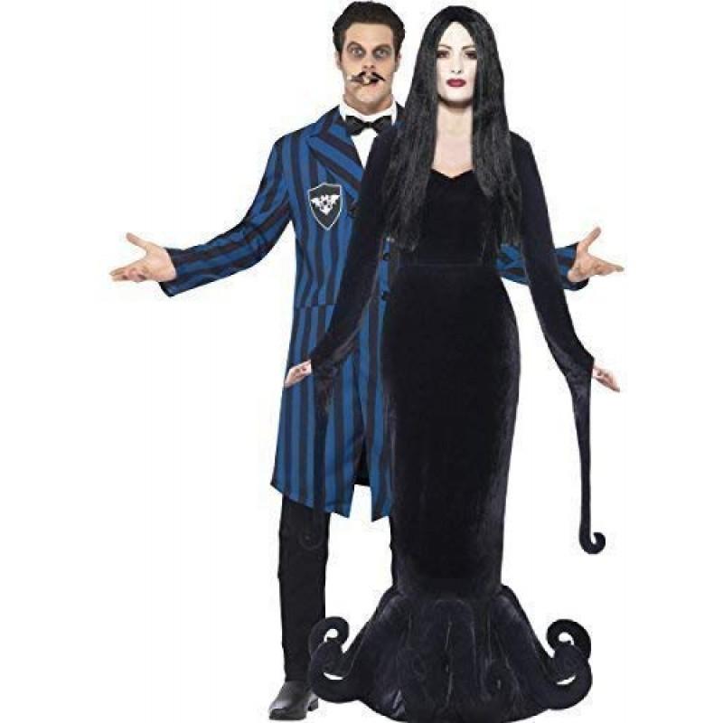00203d4771c5 Coppia di costumi da Halloween, per uomo e donna, da Morticia e Gomez della  Famiglia Addams