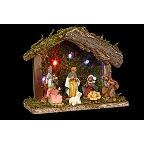 3 in 1 set natalizio: 1 presepe luminoso + 7 statuine + 1 iluminazione LED
