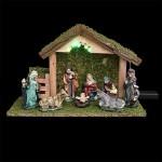 3 in 1 set natalizio: 1 presepe luminoso + 8 statuine + 1 iluminazione LED