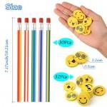 FEPITO gadget compleanno bambini 62 pezzi, matite flessibili 30 pezzi e gomme da cancellare 32 pezzi, matite con gomma bambini gadget per bambini r...