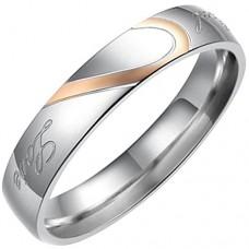 Flongo anello donna 4mm Bands argento oro,uomo e donna completo un cuore ,anniversario e fidanzamento regalo ,acciaio inox,size19.5