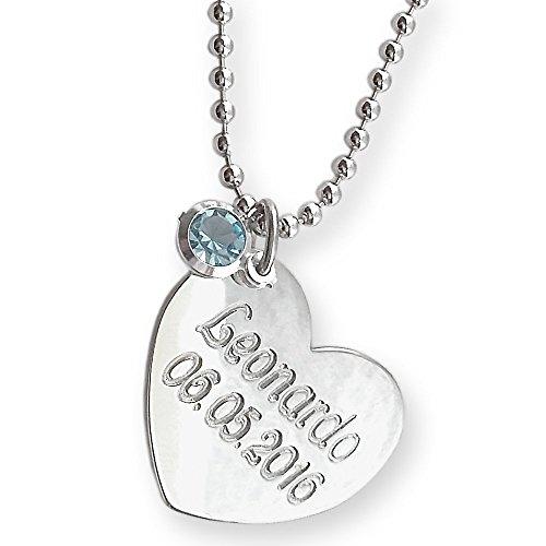 Collana con ciondolo cuore in argento rodiato 925/1000 e cristallo colorato (rosa o azzurro). Incidi il nome e la data di nascita. Collana per le m...