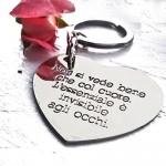 Portachiavi cuore in argento 925 con incisione personalizzata.Crea un portachiavi personalizzato con la tua frase incisa