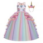 Costume Carnevale Unicorno Principessa Ragazze Compleanno Cerimonia Arcobaleno Lungo Maxi Tulle Vestito Senza Maniche Natale Halloween Cosplay Fest...