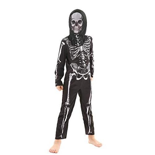 Forever Young UK Costume da Scheletro per Bambini Tuta Unisex Halloween Fancy Dress Outfit (7-8 Anni)