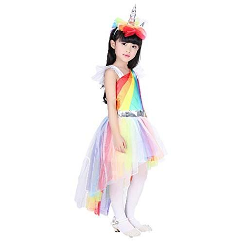 Forever Young Girls Unicorn Party Dress Rainbow Pony Fancy Dress Costume Unicorno Fascia e Vestito 3-5 Anni