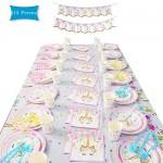 114pcs Unicorno Party Kit Compleanno, Festa Unicorno Bambina Decorazione Feste Compleanno Piatti Tovaglie Posate Copritavolo Coppe ECC. per 16 Ospiti