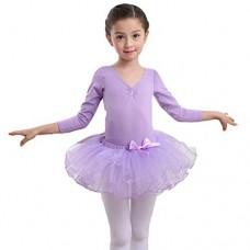 Vestito da Balletto Ragazza in Cotone Manica Lunga Body da Ballo con Gonna in Tulle Costume di Ballerina Ballerina Carnevale Abbigliamento da Danza...